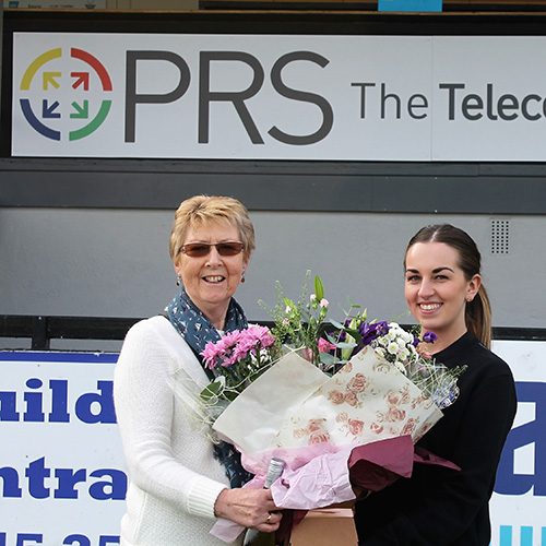 PRS Donate Mother's Day Prize at Rhyl FC